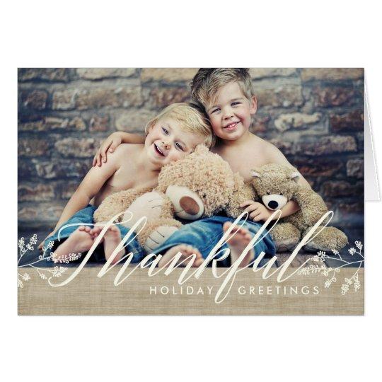 Thankful Happy Thanksgiving Photo Burlap Card