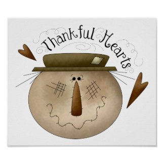 Thankful Hearts Scarecrow Sign/Print Poster