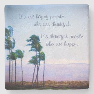 """Thankful"" quote palm trees photo stone coaster"