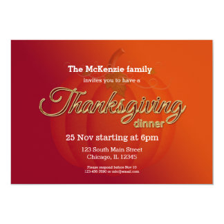 Thankgiving dinner card