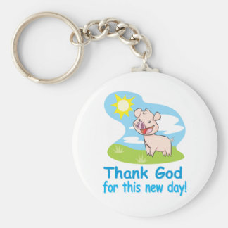 Thanking God for this New Day With Happy Piglet Basic Round Button Key Ring