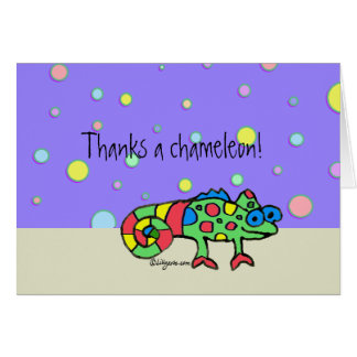 Thanks a Chameleon Thank You Purple Dots Card