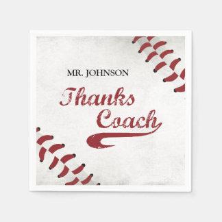 Thanks Baseball Coach Large Grunge Baseball Paper Napkin