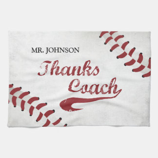 Thanks Baseball Coach Large Grunge Baseball Tea Towel