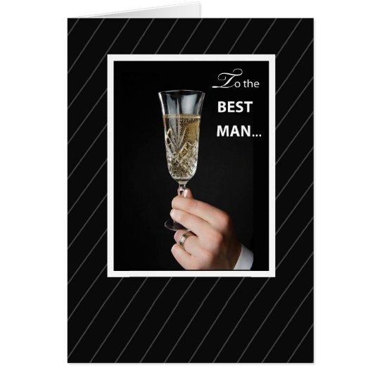 Thanks Best Man Toaast, Champagne Toast on Black Card