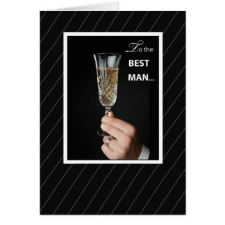 Thanks Best Man Toaast, Champagne Toast on Black Greeting Card
