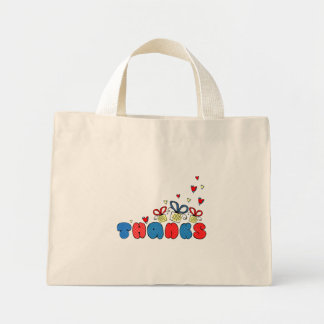 """""""Thanks"""" bold doodle sign with retro halftones Mini Tote Bag"""