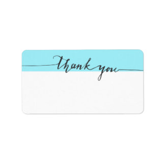 Thanks Calligraphy Turquoise Write-in Address Label