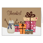 Thanks! ~ Cute Snowman with Gifts Winter Thank You Card