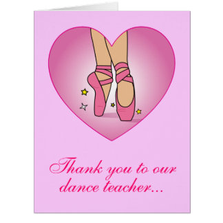 Thanks Dance Teacher Shoes in Heart from Group Big Greeting Card