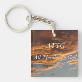Thanks Double-Sided Square Acrylic Key Ring