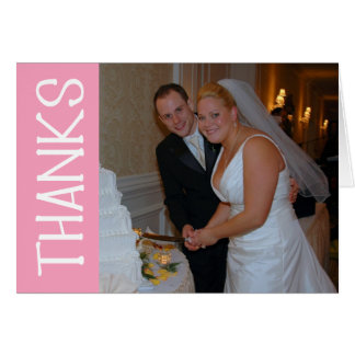 Thanks Felt Tip Thank You Notecard (Pink) Stationery Note Card