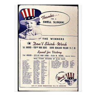 Thanks For A Swell Slogan, The Winners Don't Shirk 21.5 Cm X 28 Cm Flyer