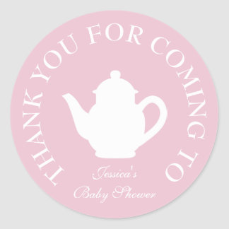 Thanks for coming baby shower tea party stickers