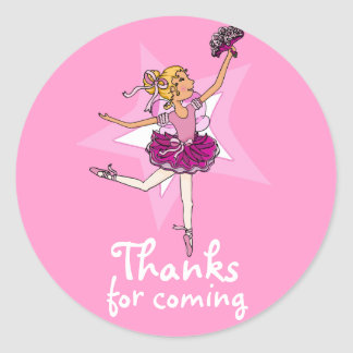 Thanks for coming ballarina girls birthday sticker