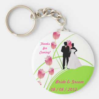Thanks for Coming (Green and Pink) Basic Round Button Key Ring