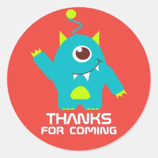 Thanks for coming kids alien birthday sticker