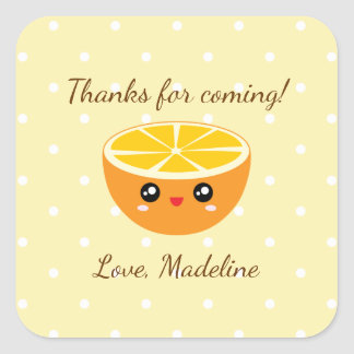 Thanks For Coming Orange You Glad Birthday Party Square Sticker