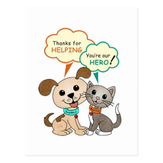 Thanks for helping... (BowWow & MeeYow) Postcard