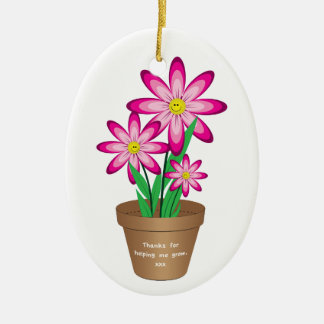 Thanks For Helping Me Grow - Happy Flower Christmas Ornament