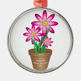 Thanks For Helping Me Grow - Happy Flower Silver-Colored Round Decoration