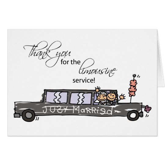 Thanks for Limousine Service Wedding Stick Figures Card