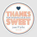 Thanks For Making Our Day Sweet (Coral / Navy) Round Stickers