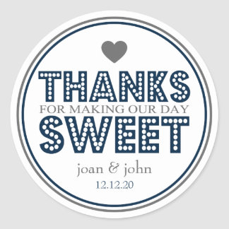 Thanks For Making Our Day Sweet (Navy Blue / Gray) Round Sticker