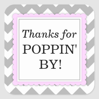 Thanks for Poppin' By Square sticker - Chevron