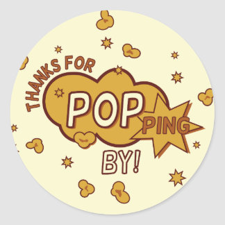 """thanks for popping by"" baby shower party gift round sticker"
