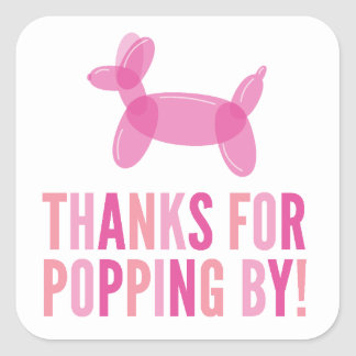 Thanks for Popping By Girl Baby Shower Sticker