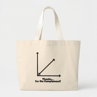thanks for the complement large tote bag