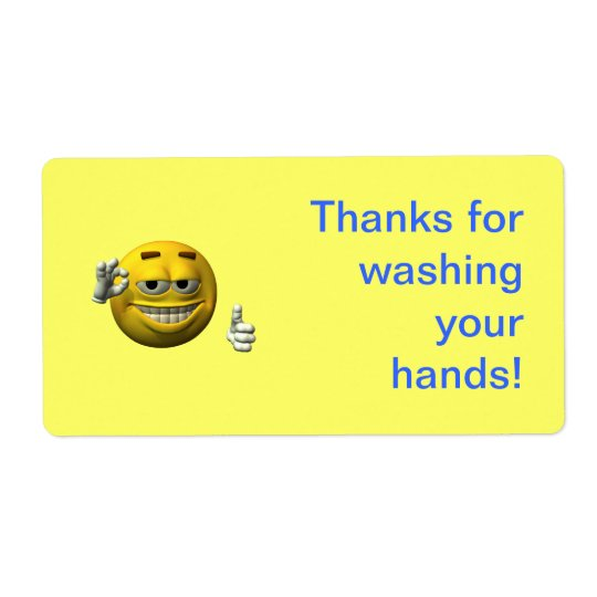 Thanks for washing your hands shipping label