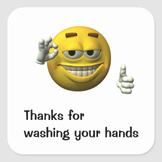 Thanks for washing your hands square sticker