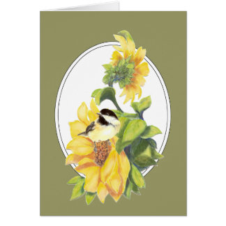 Thanks Greeting Watercolor Chickadee and Sunflower Card