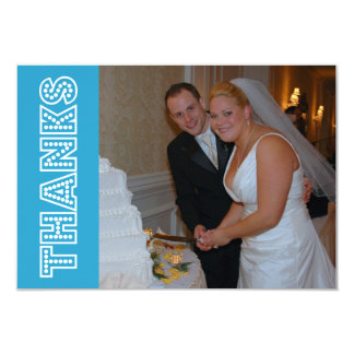 Thanks In Lights Thank You Notecard (Blue) Custom Invite