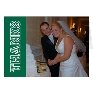 Thanks In Lights Thank You Notecard (Green) Card