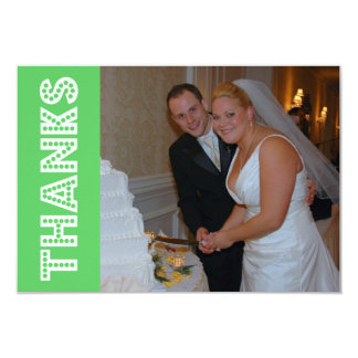 """Thanks In Lights Thank You Notecard (Lime Green) 3.5"""" X 5"""" Invitation Card"""