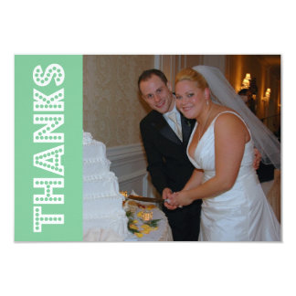 Thanks In Lights Thank You Notecard (Mint Green) Invitation