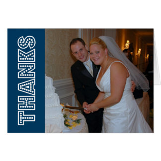 Thanks In Lights Thank You Notecard (Navy Blue) Card