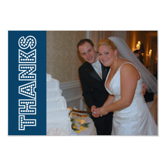Thanks In Lights Thank You Notecard (Navy Blue) Custom Announcement