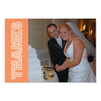 Thanks In Lights Thank You Notecard (Orange) Personalized Invite