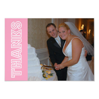 Thanks In Lights Thank You Notecard (Pink) Custom Invitations