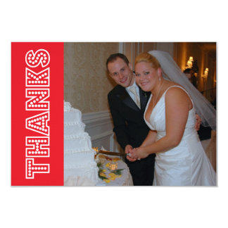Thanks In Lights Thank You Notecard (Red) Custom Invitations