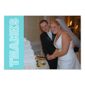 Thanks In Lights Thank You Notecard (Teal) Personalized Announcement