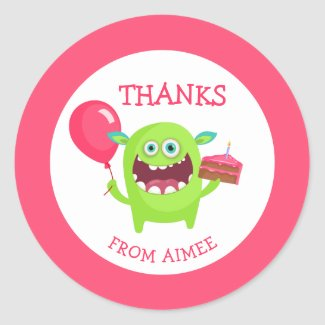 Thanks Little Monster Party Classic Round Sticker
