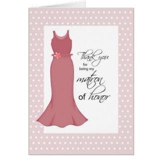 Thanks Matron of Honor, Pink Dress, Polka Dots Card