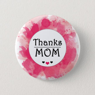 Thanks MOM Watercolor Pink Heart 6 Cm Round Badge