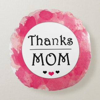 Thanks MOM Watercolor Pink Heart Round Cushion