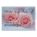Thanks Mother of Bride, Pink Roses, Wedding Greeting Card